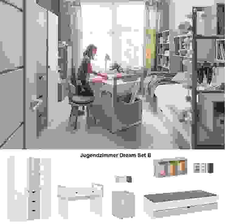 Jugendzimmer komplett weiß modern Dream Set B von QMM TraumMoebel Modern Holz Holznachbildung