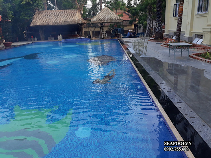 Thi công bể bơi chuyên nghiệp bởi Saigonpoolspa Hiện đại Bê tông cốt thép