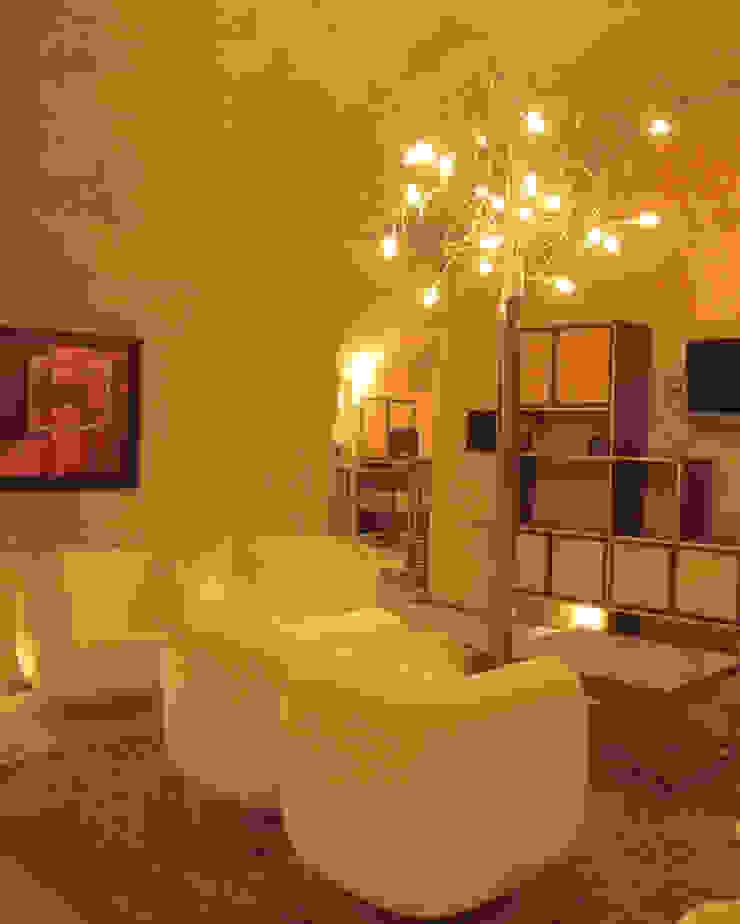 GARLIC arquitectos リビングルーム照明 ガラス