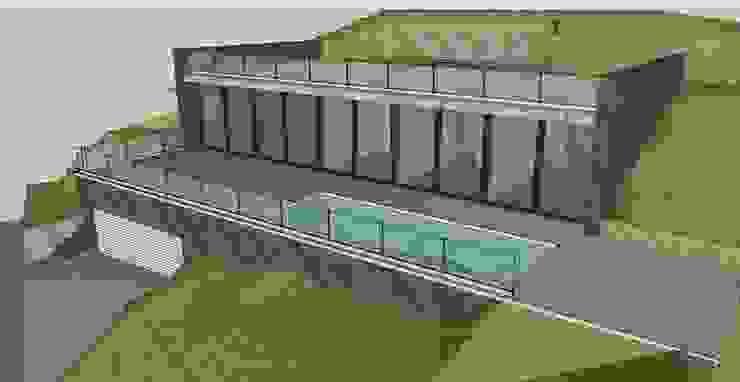 Vista frontal, ventanales y piscina de Esteve Arquitectes Minimalista Cerámico