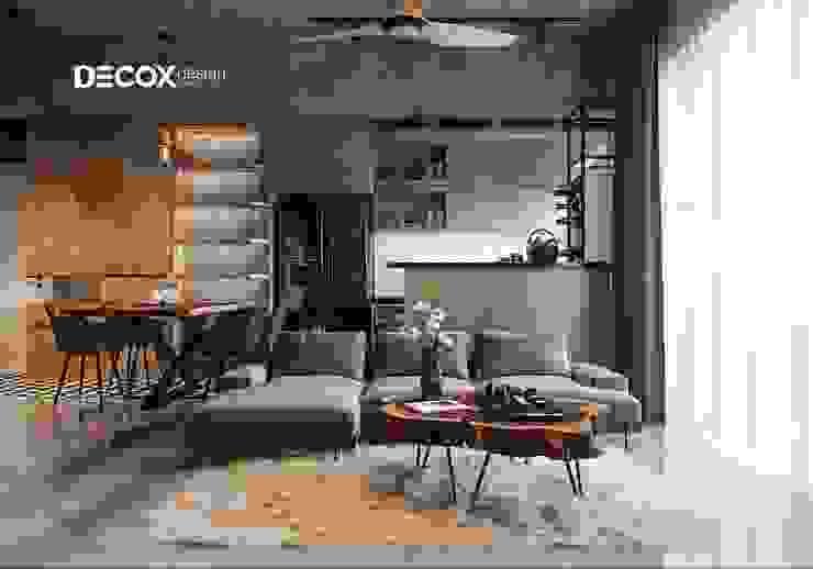THIẾT KẾ NỘI THẤT CĂN HỘ MỸ VIÊN 120M2 DE190076 Phòng khách phong cách công nghiệp bởi Công ty cổ phần nội thất DECOX Công nghiệp
