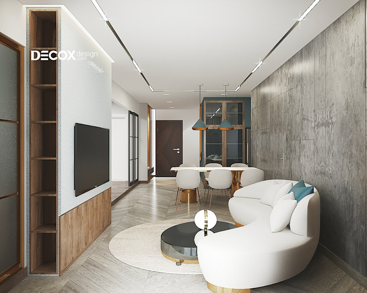 THIẾT KẾ NỘI THẤT CĂN HỘ HADO CENTROSA 95M2 DE018 bởi Công ty cổ phần nội thất DECOX Hiện đại