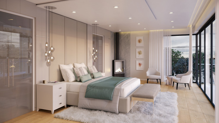 Main Bedroom Eclectic style bedroom by Dessiner Interior Architectural Eclectic