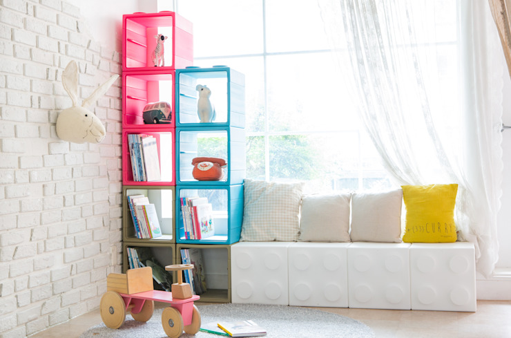 블록으로 만드는 수납장: 주식회사 큐빙의 현대 ,모던 플라스틱