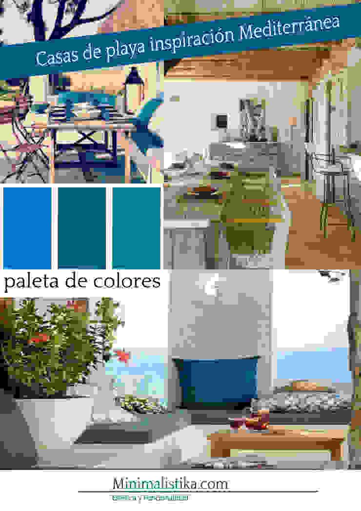 Casas de Playa Minimalista y Mediterráneo - Moodboard Minimalistika.com Jardines de invierno de estilo mediterráneo Madera Acabado en madera