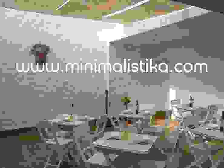 Casas de Playa Minimalista y Mediterráneo - Patio Minimalistika.com Balcones y terrazas de estilo mediterráneo Madera maciza Blanco