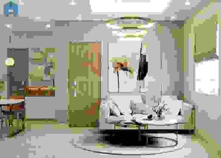 Nội thất phòng khách đem lại ấn tượng cho khách đến chơi nhà bởi Công ty TNHH Nội Thất Mạnh Hệ Hiện đại