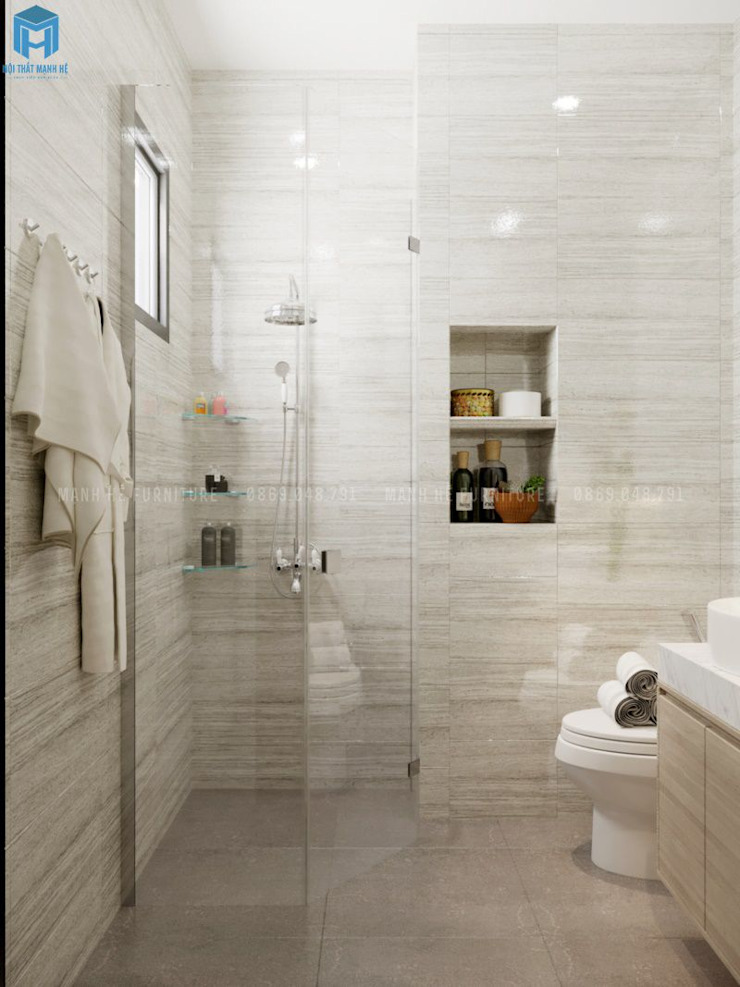 Nội thất nhà vệ sinh sang trọng Phòng tắm phong cách hiện đại bởi Công ty TNHH Nội Thất Mạnh Hệ Hiện đại