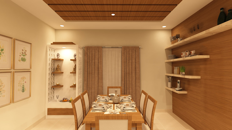 Dining room with Pooja Unit Asian style dining room by SD Interiors & Modulars Asian