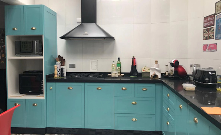 Entorno Estudios ห้องครัวเคาน์เตอร์ครัว แผ่นไม้อัด Turquoise