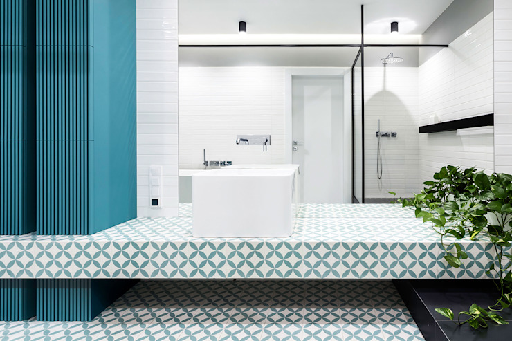 Lugerin Architects Modern style bathrooms Ceramic Green
