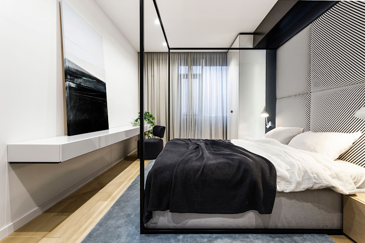 Lugerin Architects Modern style bedroom Iron/Steel White