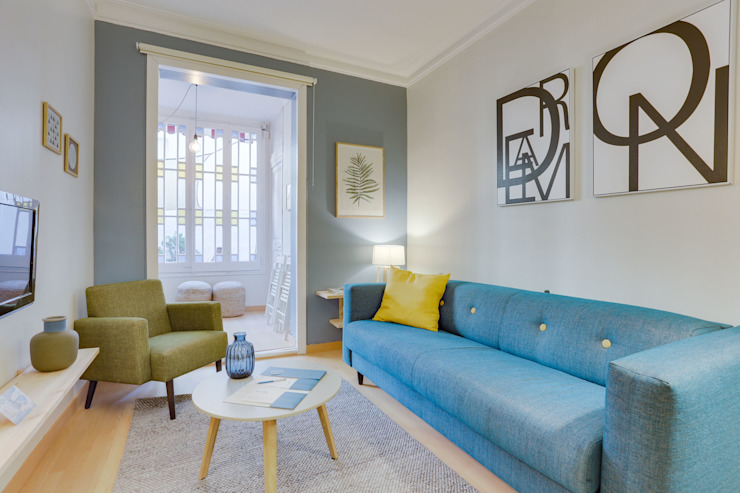 CREAPROJECTS. Interior design. Living room Blue
