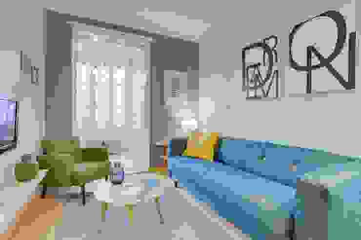 CREAPROJECTS. Salón y galeria. Estilo escandinavo. CREAPROJECTS. Interior design. Salones de estilo escandinavo Azul
