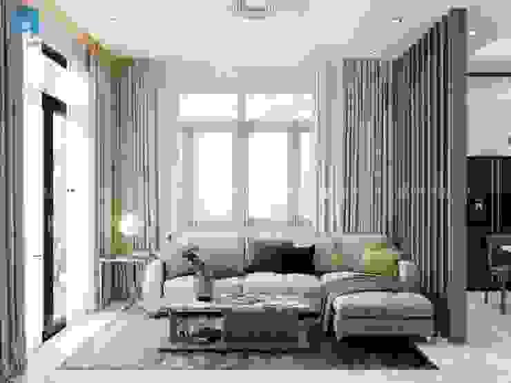 Không gian phòng khách đẹp hiện đại bởi Công ty TNHH Nội Thất Mạnh Hệ Hiện đại Gỗ thiết kế Transparent