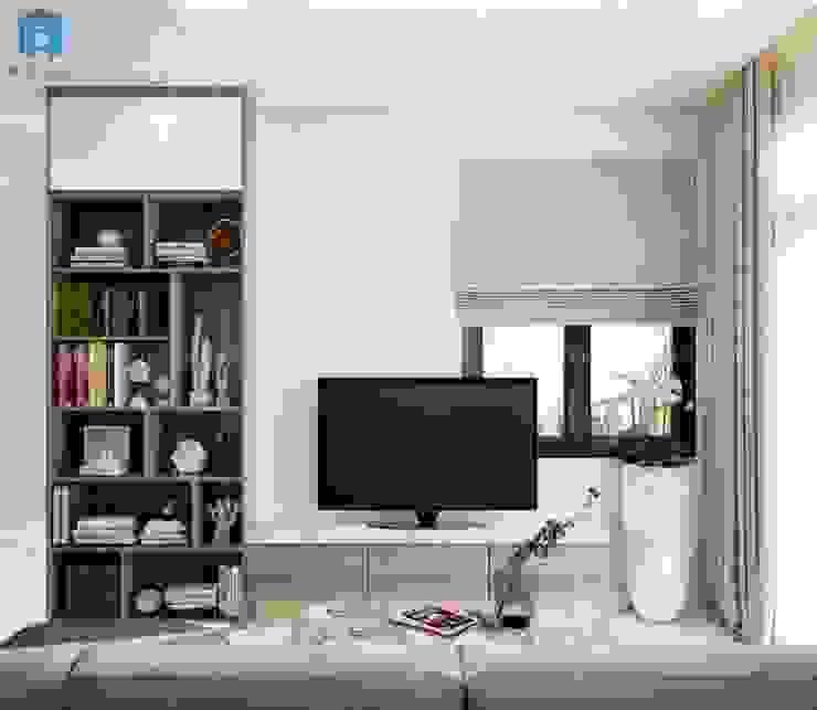 Kệ ti vi được gắn trực tiếp lên tường giúp tiết kiệm không gian, kệ trang trí gỗ công nghiệp lưu trữ đồ đạc bởi Công ty TNHH Nội Thất Mạnh Hệ Hiện đại Gạch ốp lát