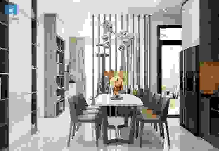 Bộ bàn ăn phong cách Scandinavian với 6 ghế sang trọng hiện đại Phòng ăn phong cách hiện đại bởi Công ty TNHH Nội Thất Mạnh Hệ Hiện đại Cao su