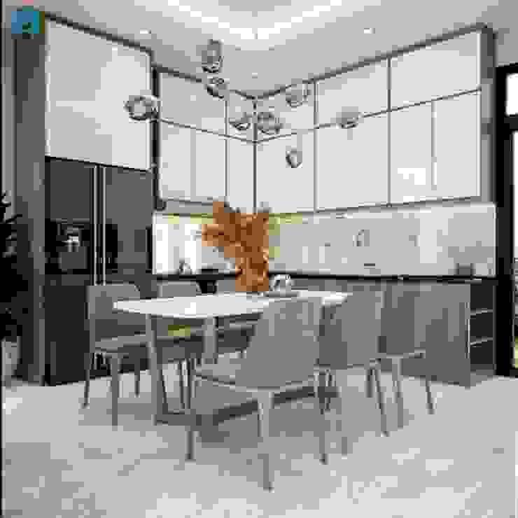 Tủ bếp được thiết kế đụng trần bởi Công ty TNHH Nội Thất Mạnh Hệ Hiện đại Đá hoa