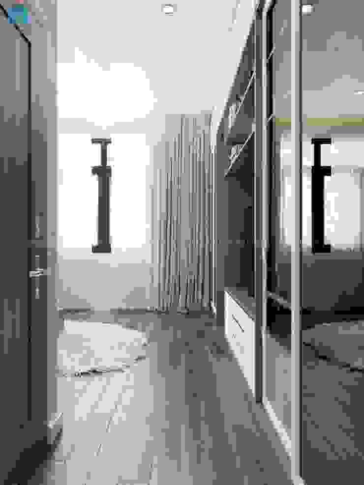 Rèm thả 2 lớp giúp cản ảnh sáng mạnh tạo ra nguồn sáng dịu nhẹ cho căn phòng Phòng ngủ phong cách hiện đại bởi Công ty TNHH Nội Thất Mạnh Hệ Hiện đại Đá hoa