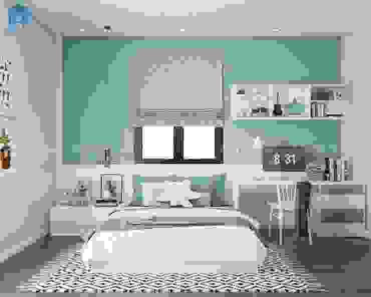 Không gian phòng ngủ cho bé với tone màu xanh bạc hà ngọt ngào bởi Công ty TNHH Nội Thất Mạnh Hệ Hiện đại Đá hoa cương