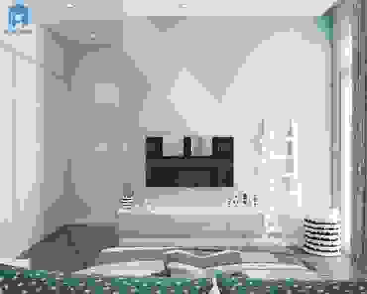 Kệ ti vi sát tường đơn giản cho phòng của bé bởi Công ty TNHH Nội Thất Mạnh Hệ Hiện đại Cao su