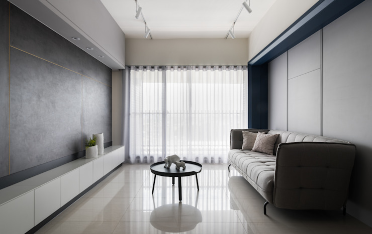 藍軸 现代客厅設計點子、靈感 & 圖片 根據 肯星室內設計 現代風
