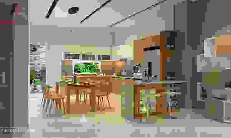 Hình ảnh thiết kế nội thất nhà phố tại Bắc Giang Nhà bếp phong cách hiện đại bởi Nội Thất An Lộc Hiện đại
