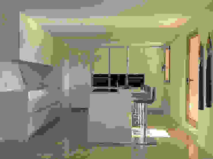 Reforma apartamento Sta. Ponça. Cocina de FOCUS Arquitectura Minimalista Madera Acabado en madera