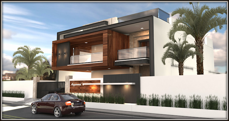 Front Elevation View by Inception Design Cell Modern Wood-Plastic Composite