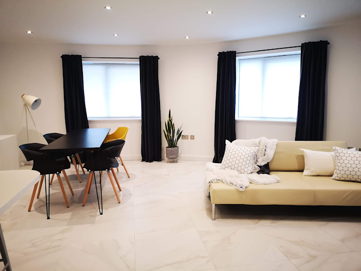 Open plan living THE FRESH INTERIOR COMPANY Living room Marble White