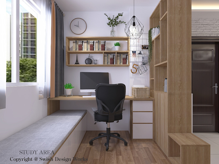 Study Area Scandinavian style study/office by Swish Design Works Scandinavian Plywood