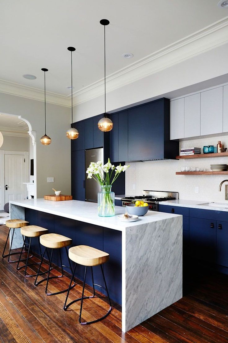 Blue and white Contemporary Kitchen by Rebel Designs Modern Marble