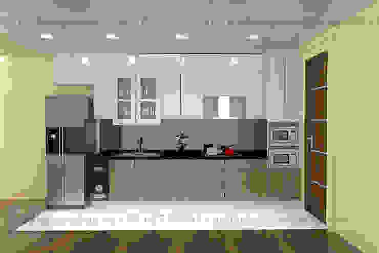 Tủ bếp phủ nhựa acrylic màu trắng độ bền cực cao tại Nội thất nguyễn Kim bởi Nội thất Nguyễn Kim