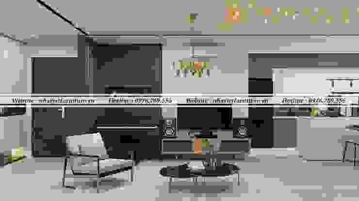 Thiết kế thi công nội thất chung cư – Green pearl Minh khai bởi Thiết kế thi công nội thất - Nhà Việt Furniture Hiện đại MDF