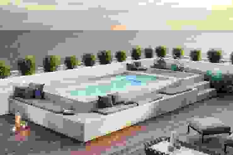 Spaspace è la piscina ideale per il tuo terrazzo. Balcone, Veranda & Terrazza in stile moderno di Aquazzura Piscine Moderno