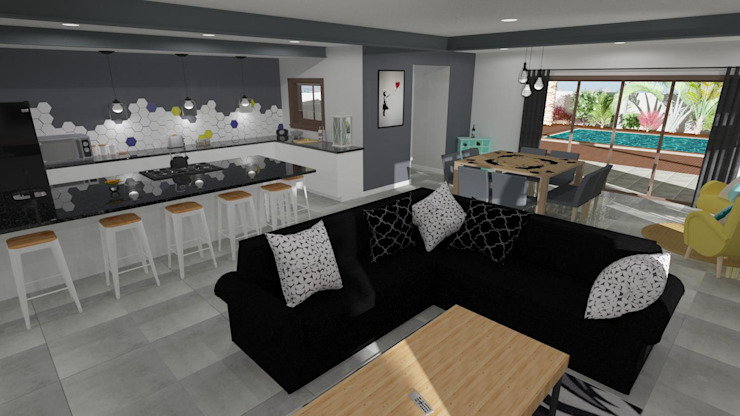 Open plan Lounge and Kitchen Modern living room by RooMoo Modern