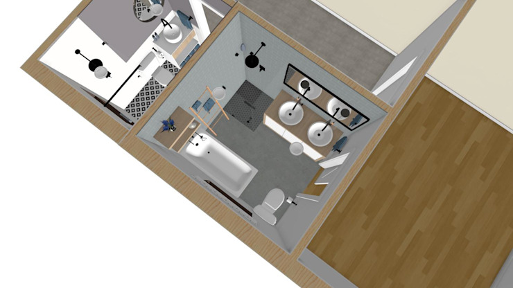 3D Floor Plan of Bathroom Design by RooMoo