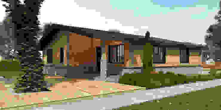 Лега, дом в стиле кантри. Фасад от AprioriAlbero Кантри Дерево Эффект древесины