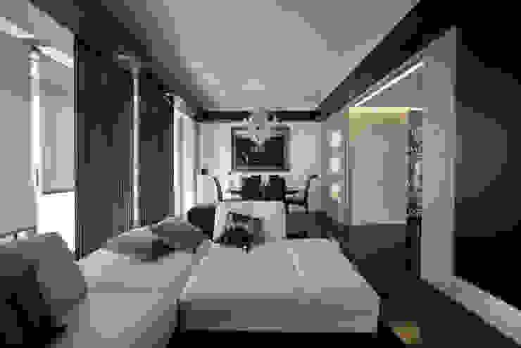 il soggiorno Sala da pranzo moderna di Altro_Studio Moderno Legno Effetto legno