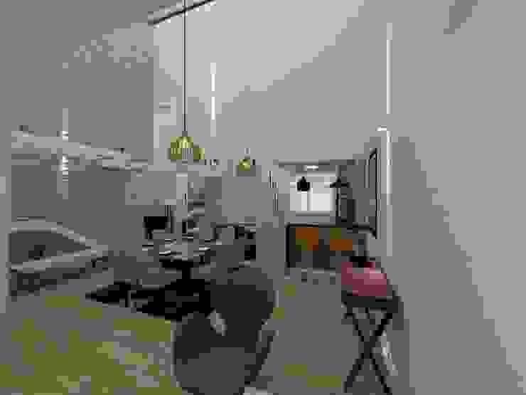 Sala de jantar com pé direito duplo Salas de jantar modernas por Danilo Rodrigues Arquitetura Moderno
