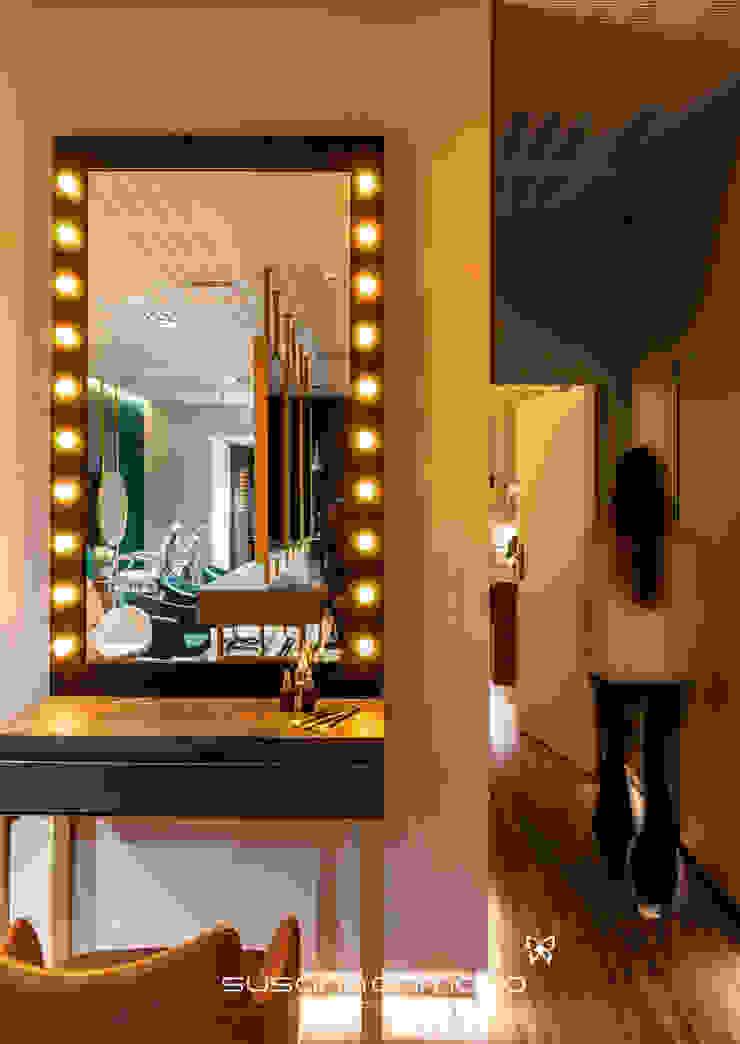 Susana Camelo Salones de estilo moderno Aglomerado Ámbar/Dorado
