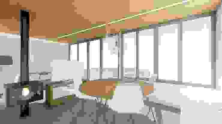Comedor-Salón con salida a la terraza Comedores de estilo moderno de Barreres del Mundo Architects. Arquitectos e interioristas en Valencia. Moderno Hormigón