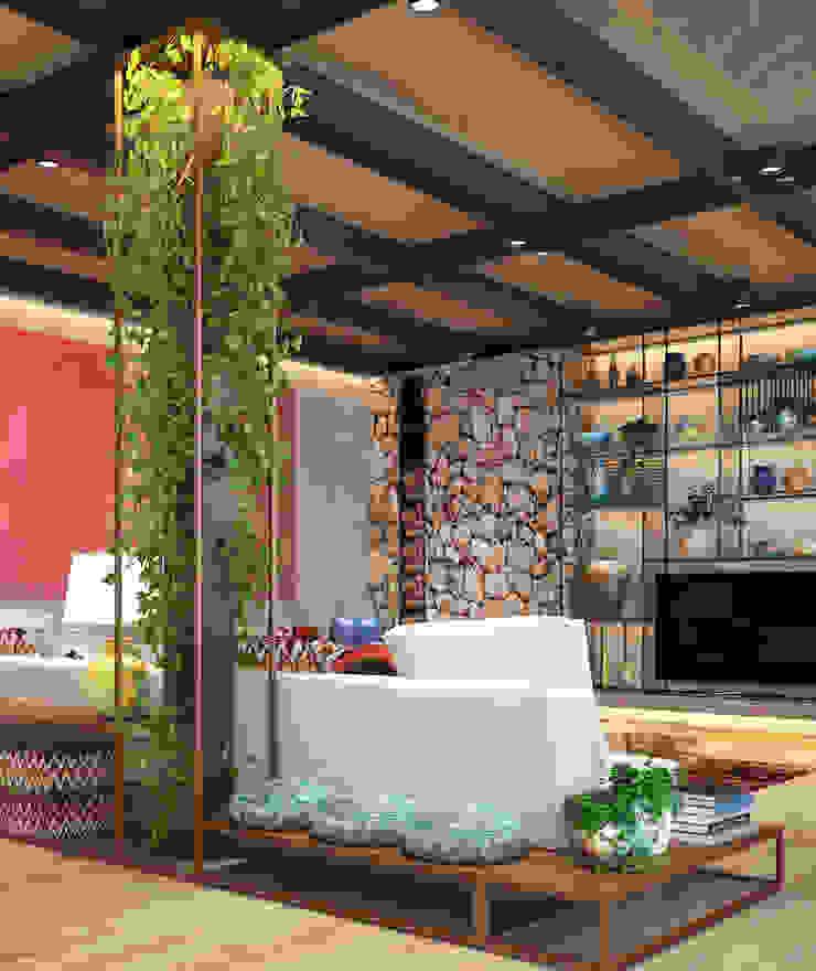 Ethnic House Rustik Oturma Odası Derya Bilgen Rustik Ahşap-Plastik Kompozit