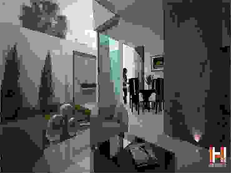 SALA CON ESPEJO DE AGUA Livings modernos: Ideas, imágenes y decoración de HHRG ARQUITECTOS Moderno