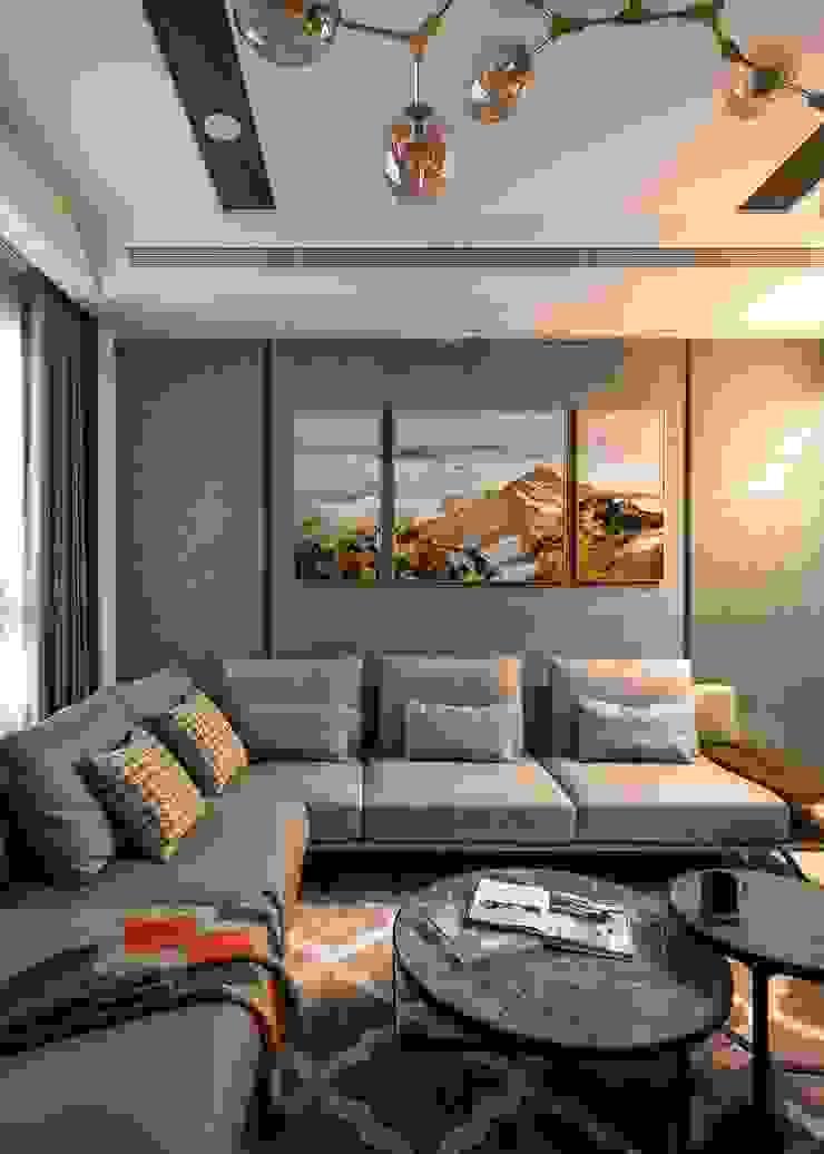 棒球五街天璽吳公館 现代客厅設計點子、靈感 & 圖片 根據 大漢創研室內裝修設計有限公司 現代風