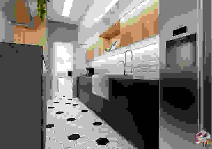 Projeto Social de Apartamento Integrado Cozinhas modernas por Studio Trix - Arquitetura e Interiores Moderno