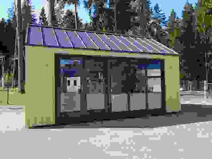 Außenansicht Glasfront von THULE Blockhaus GmbH - Ihr Fertigbausatz für ein Holzhaus Minimalistisch
