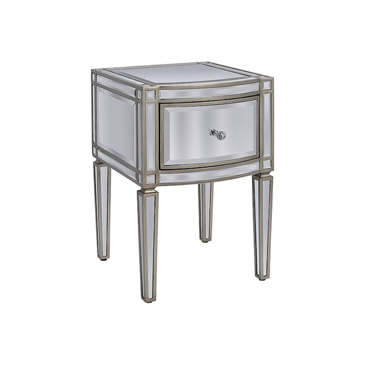 Antoinette Toughened Mirror One Drawer Bedside Table by My Furniture