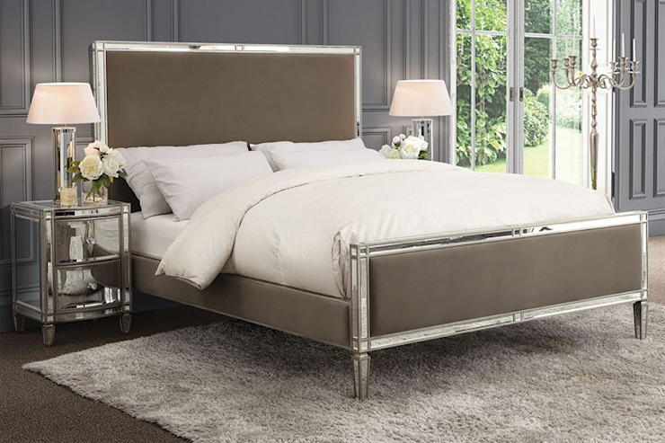 Antoinette Mirrored Bed - Taupe - King / Super King by My Furniture
