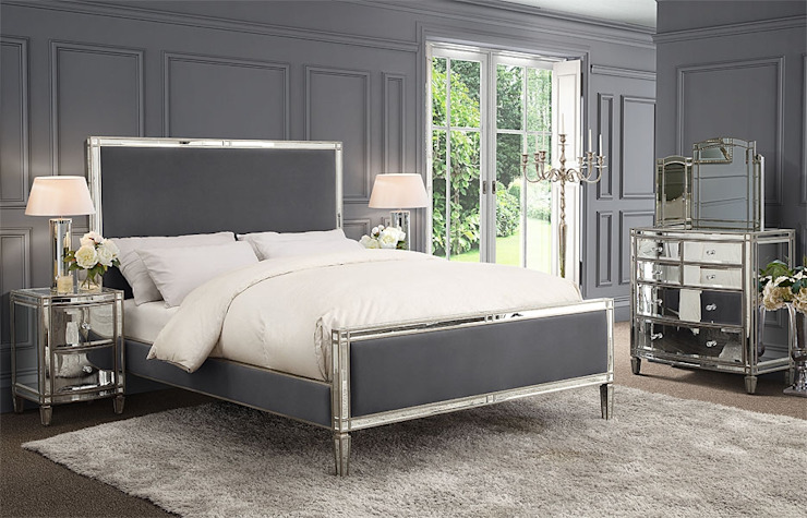 Antoinette Mirrored Bed - Storm Grey - King / Super King by My Furniture